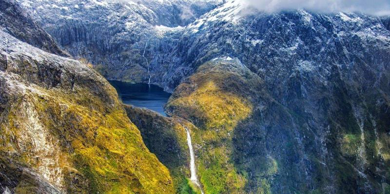 Waterfall.Green.Mountain.Lake.Fantasy. Sutherland falls